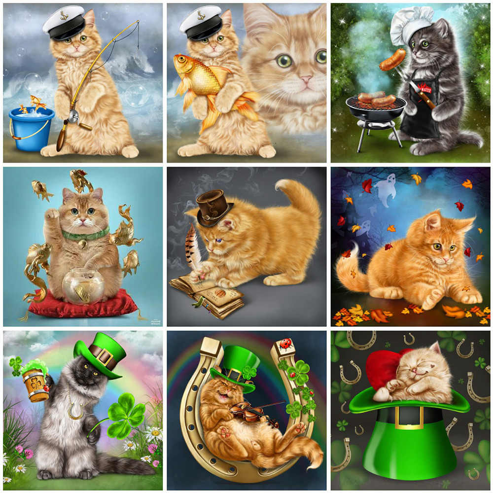 Huacan diamant peinture Animal chambre d'enfants décor photo de strass chat broderie plein affichage diamant Art