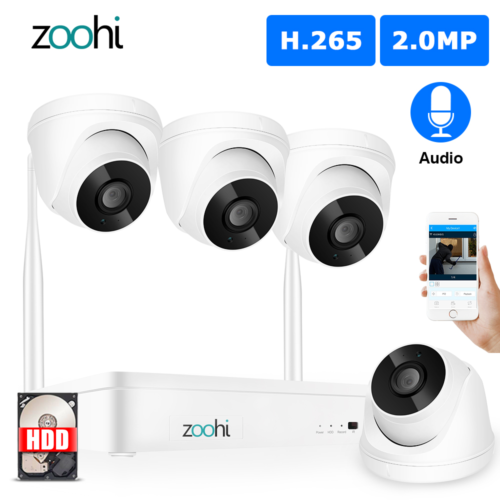 Zoohi Indoor Wireless Video Surveillance System 1080P 2MP HD WIFI Camera Sound Record Home Security Camera System Night Vision