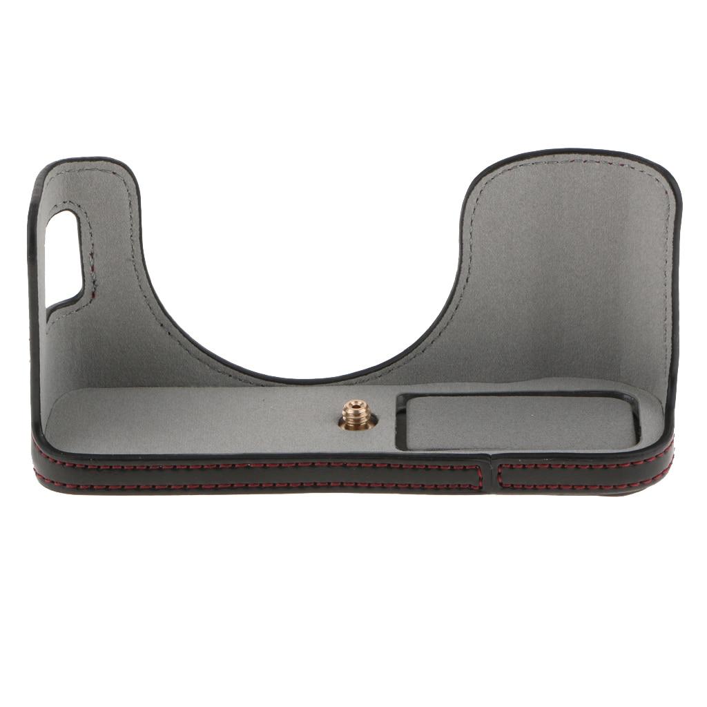 Camera Leather Half Cover Bottom Case with Soft Interior Design for Fujifilm X-A5 Coffee Color