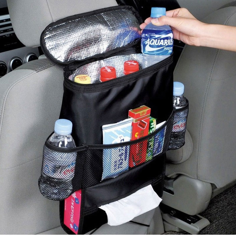 Acessórios do Carro Organizador de Alimentos Quente Térmica Garrafa Verão Bolsa Refrigerador Frutas Latas Sundries Armazenamento Volta Assento Gelo Pacote Dobrável