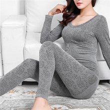 Sleepwear Thermal-Underwear Winter Long-Pants Warm Women O-Neck-Top Christmas-Gifts Elastic