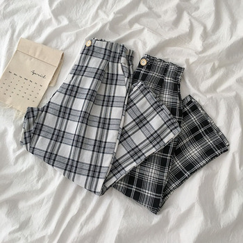 цена HOUZHOU Korean Style Wide Leg Pants Women Korean Wide Pants Summer Plaid Pants 2020 Fashion Women Checkered Palazzo Pants онлайн в 2017 году