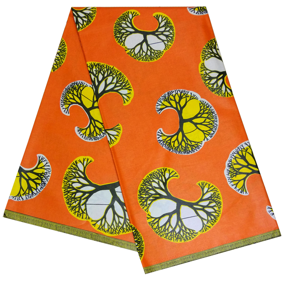 New Ankara Orange Fabric African Real Wax Print 6 Yards Veritable Wax African Fabric For Wedding Dress