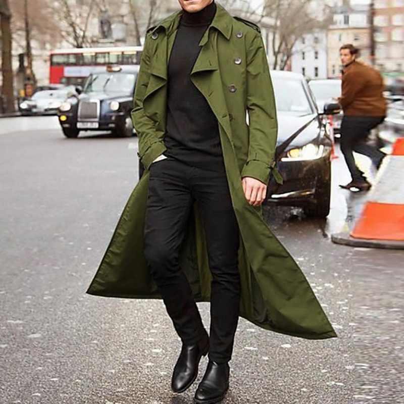 신사 긴 슬림 남자 트렌치 코트 더블 브레스트 옷깃 윈드 브레이커 남성 패션 가을 겨울 코트 긴 디자인 트렌치 남성