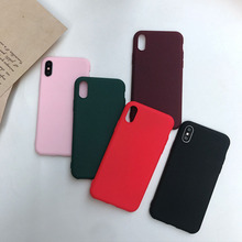 luxury plain case for iPhone 7 X XR XSMAX 8 6Plus 7Plu 6 8Plus cover soft TPU frosted touch multiple color fashion simplicity