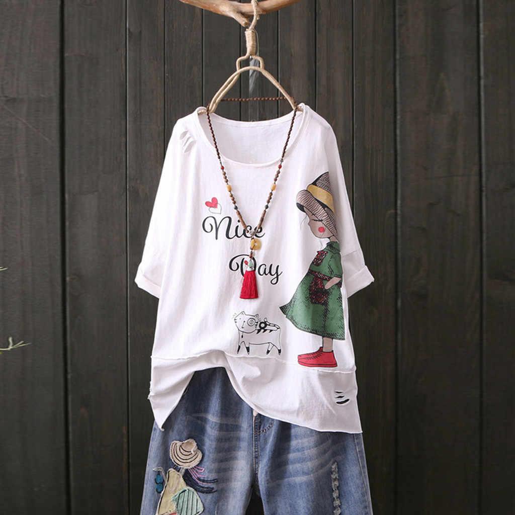 Bluzki damskie drukuj bawełniany i lniany top O-Neck z krótkim rękawem Cartoon bluzka bluzas de mujer 2020 quimono feminino bluzka femme
