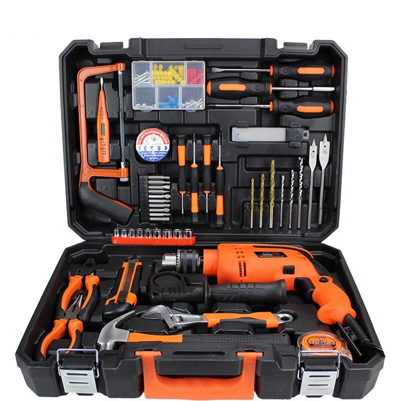 47 Stks/set Power Tools Kit Elektrische Boor Handgereedschap Set Houshold Tool Case Tang Wrench Mes Schroevendraaier PTS003