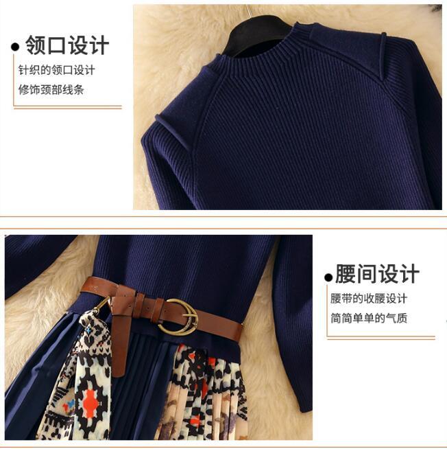 Elegant Knitted Patchwork Pleated Midi Dress 2019 Fall Winter Fashion Women Long Sleeve Ethnic Retro Printing Pleated Dress 4
