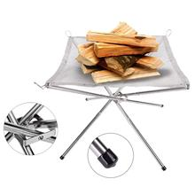 Outdoor Camping Portable Fireplace Foldable Fire Pit for Patio Camping Barbecue Campfire Fire Rack Mesh Fire Pit BBQ Tools
