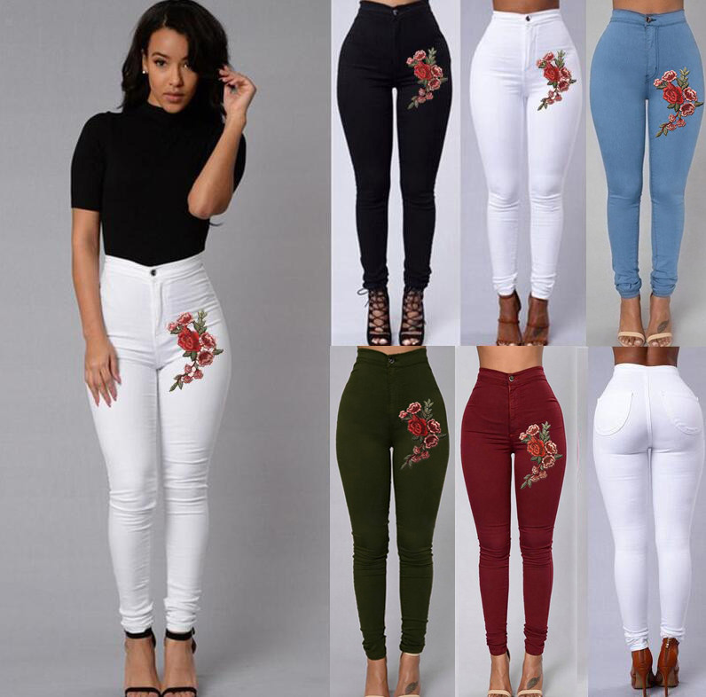 Women's High Waist Sexy Jeans Slim Stretch Large Size Denim Jeans Button Pocket Embroidered Flower Casual Skinny Pencil Jeans #B