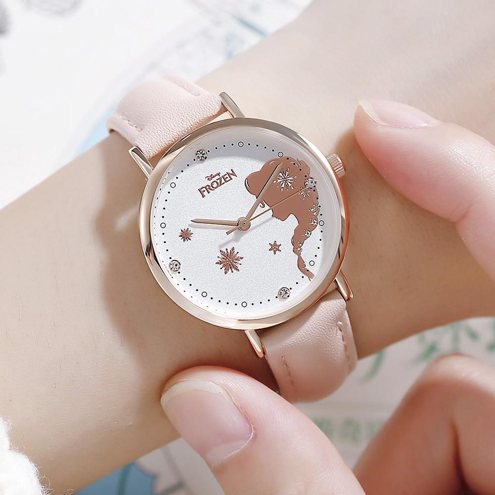 Disney Brand Frozen Children Girls Wristwatches Quartz Waterproof Leather Child Girl Watches Fashion Diamond