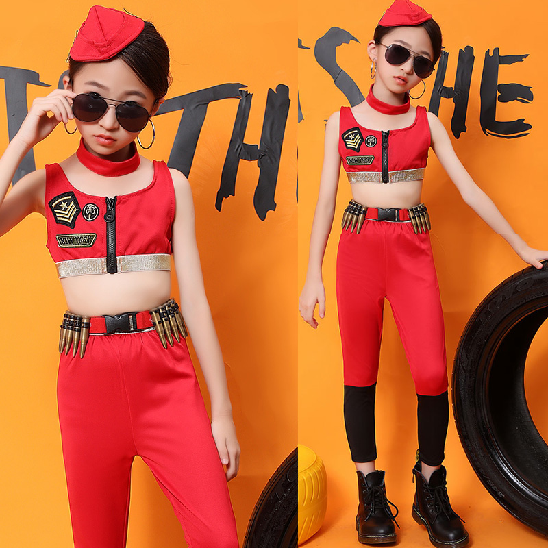 Jazz Dance Costumes Children Hip Hop Clothing Street Dancing Outfit Girls Stage Performance Wear Red Army Costume Vest DNV12098