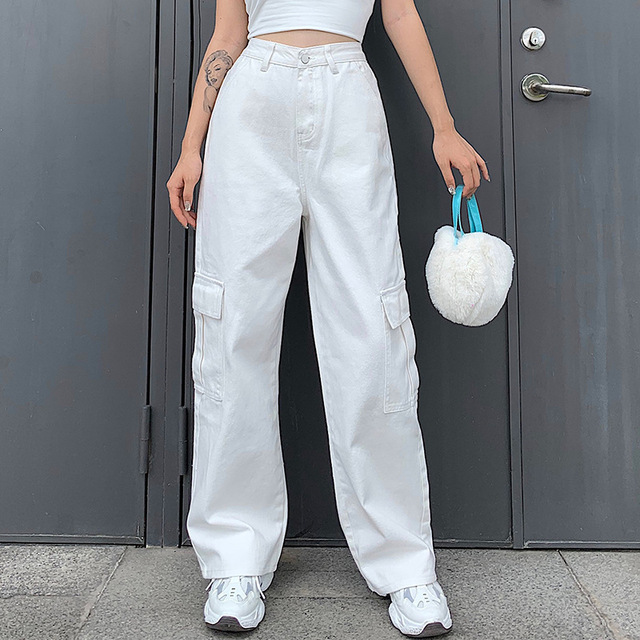 Фото брюки карго женские в корейском стиле свободные джинсы бойфренды цена