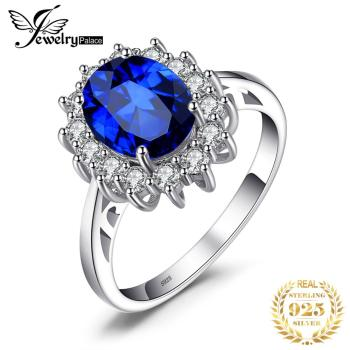 JewelryPalace Created Blue Sapphire Ring Princess Crown Halo Engagement Wedding Rings 925 Sterling Silver For Women 2020