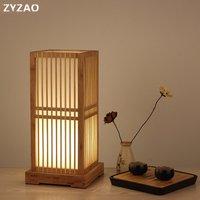 Japanischen Massivholz Tisch Lampen Hotel Schlafzimmer Nacht Lampe Wohnzimmer Wohnkultur Bambus Holz Dekoration Tisch Leuchten