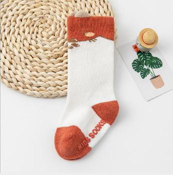 0-3Year 1 Pair Autumn and winter boy girl tube socks new loose mouth three-dimensional infant children's baby cartoon socks - E, 1-3 year
