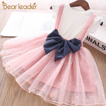 Bear Leader Girls Clothing Set New T-shirt Suspender Skirt Bow 2PCS Suit Toddler Girl Clothes Kids Skirts Princess Skirt Outfits