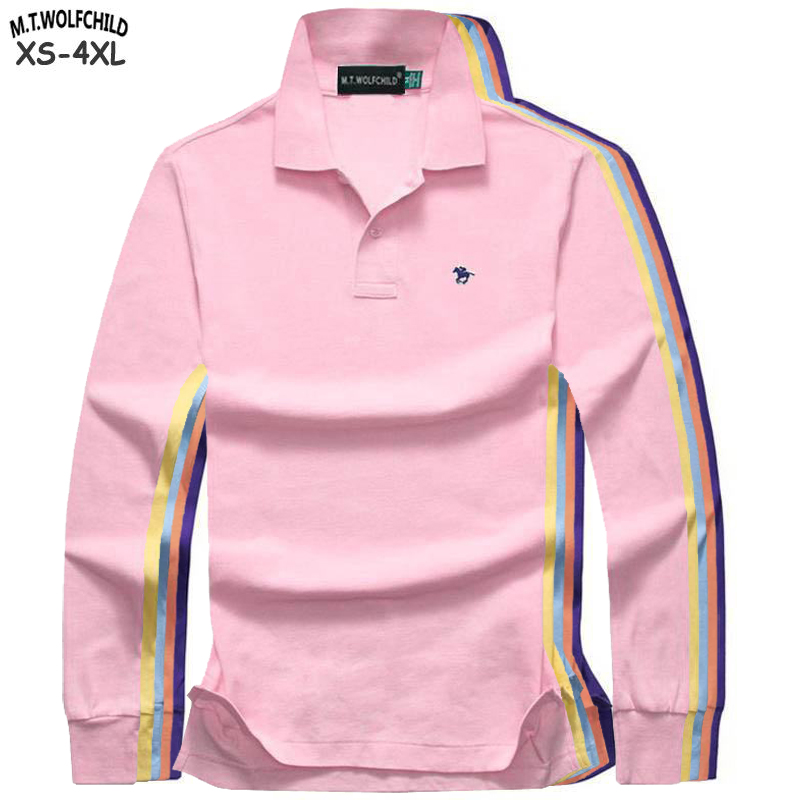 Top quality 2019 Men's long sleeve   polos   shirts casual 100% cotton small horse embroidery mens lapel tees M-4XL mens   polos   tops
