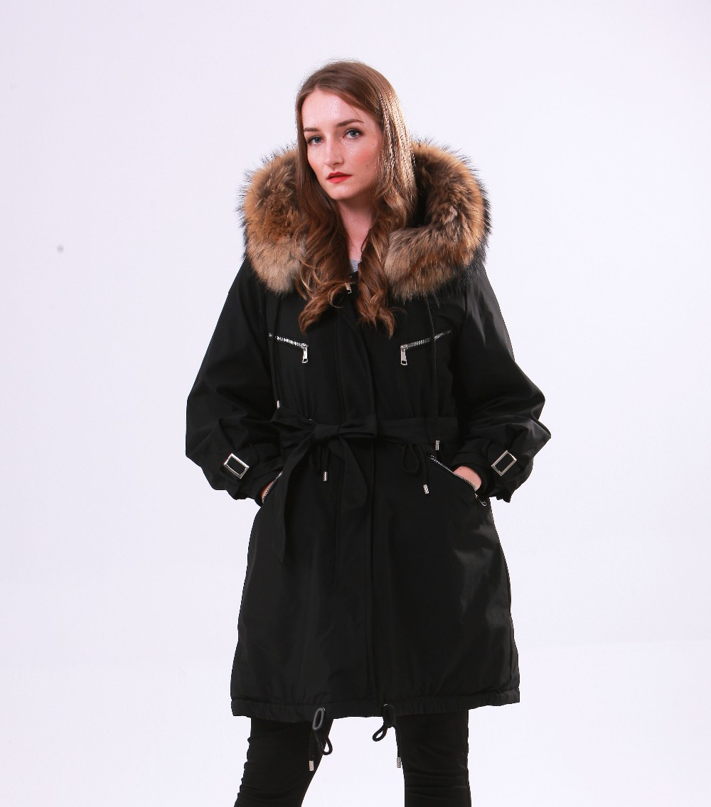 Large Natural Raccoon Fur Winter Jacket Women Hooded 19 Long Parkas For Female Thick Slim Down Winter Coat Women Waterproof 8