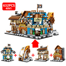 632pcs 4IN1 Caribbean Town of the Pirates Street View Building Blocks Model Bricks Toys for Children