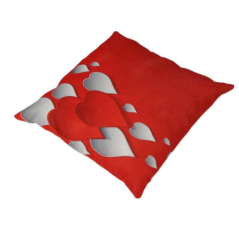 flax Cushion Cover Throw Waist Pillow Case Sofa Home Decor For Valentine's Day heart CNIM Hot Pakistan