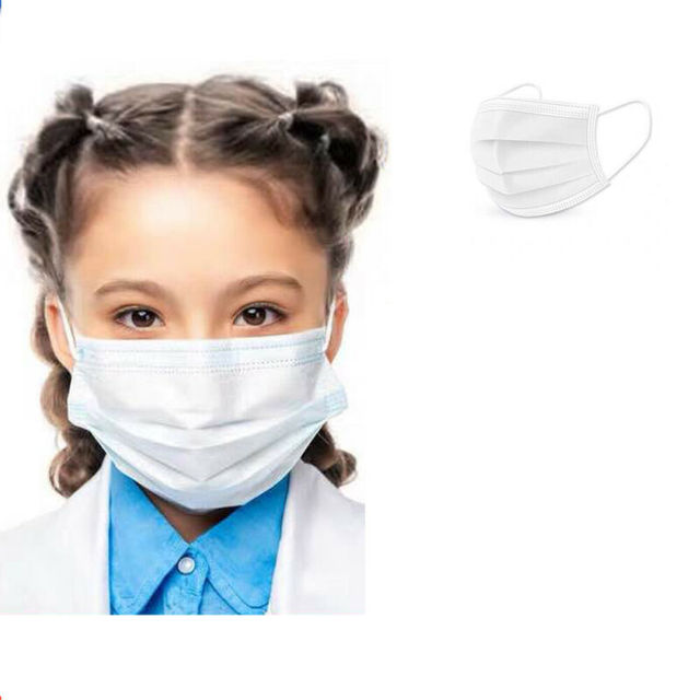 10Pcs 3 layer Disposable Elastic Mouth Soft Breathable Blue Soft Breathable Flu Hygiene Child Kids Face Mask 4-13Y 1