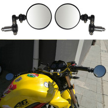 Motorcycle Black 7/8 Round Bar End Rear Mirrors Moto Motorbike Scooters Rearview Side View Cafe Racer #WL1