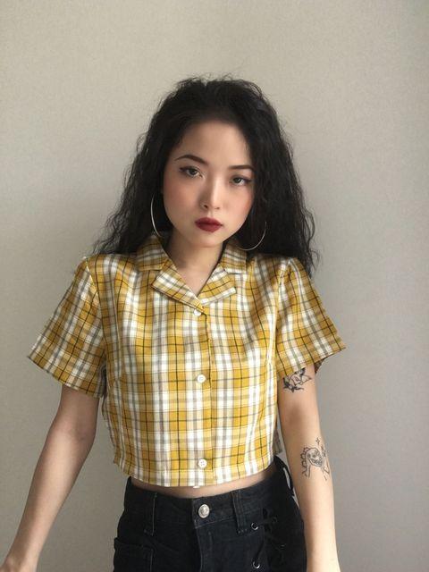 2020 Summer blouse women vintage green plaid shirts women korean crop top streetwear ladies tops elegant button shirts