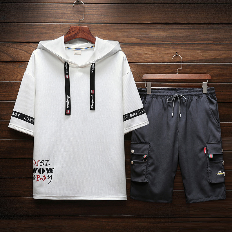 2019 Summer New Style Japanese-style Casual Printed Large Size Hooded Short Sleeve T-shirt Short Bib Overall Set Men's Tz840