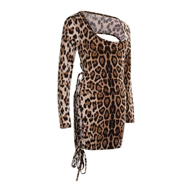 Meihuida Women Sexy Leopard Mini Dress Long Sleeve O-Neck Backless Skinny Stretch Short Dresses Night Club Sex Wear 5