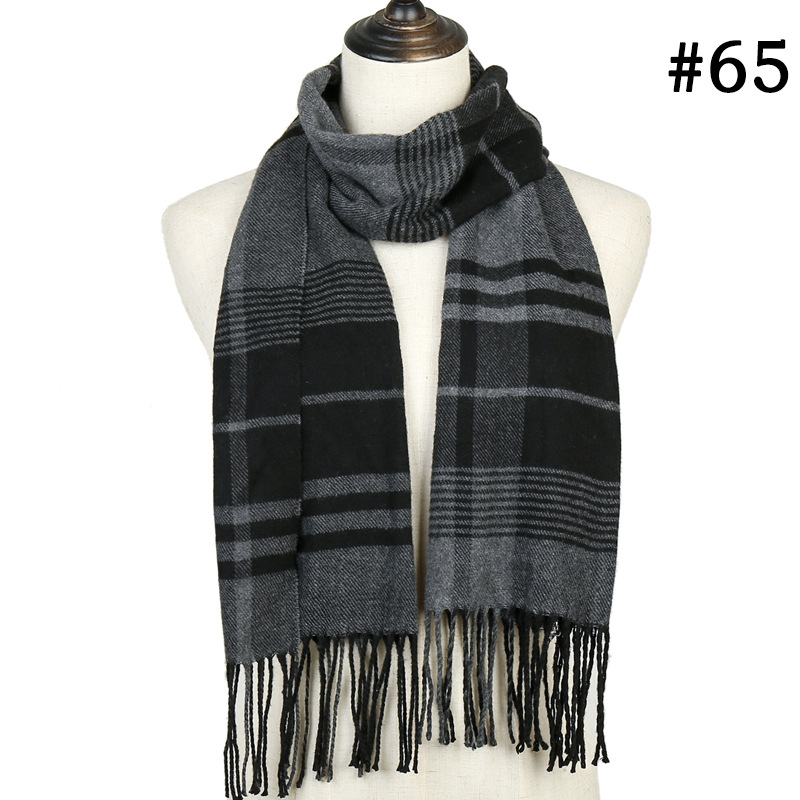 men women plaid scarf 2019 winter cashmere scarf for women foulard femme long wool pashmina ladies shawls men business scarf in Women 39 s Scarves from Apparel Accessories