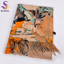[BYSIFA] Women Camel Wool Scarves Printed New Fashion Cashmere Pashmina Long Scarf Shawl Elegant Brand Warm Female Scarves Wraps