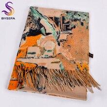[Bysifa] lenços de lã de camelo feminino impresso nova moda cashmere pashmina lenço longo xale elegante marca quente feminino cachecóis envoltórios