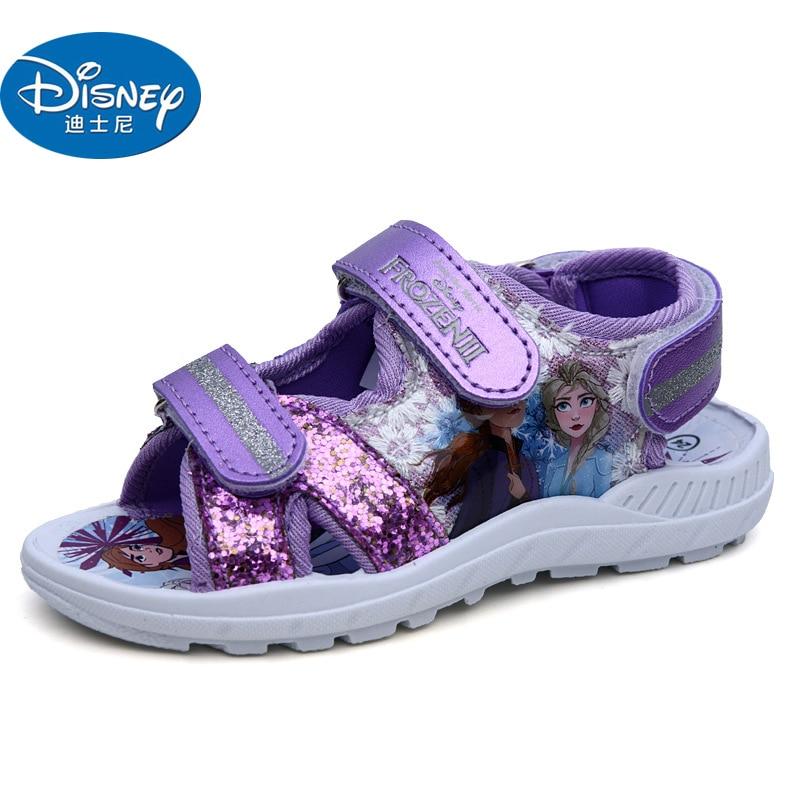 Disney Frozen 2 Purple Girls Sandals 2020 Non-slip Leather Shoes Cartoon Shoes Europe Size 25-30