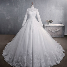 Ball-Gown Wedding-Dress Celebrity Lace Appliques Long-Sleeves Romantic Elegant Princess