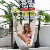 Cotton Canvas Hammock Chair Macrame Swing For Indoor Outdoor Hanging Chair Maximum Weight 330 Pounds