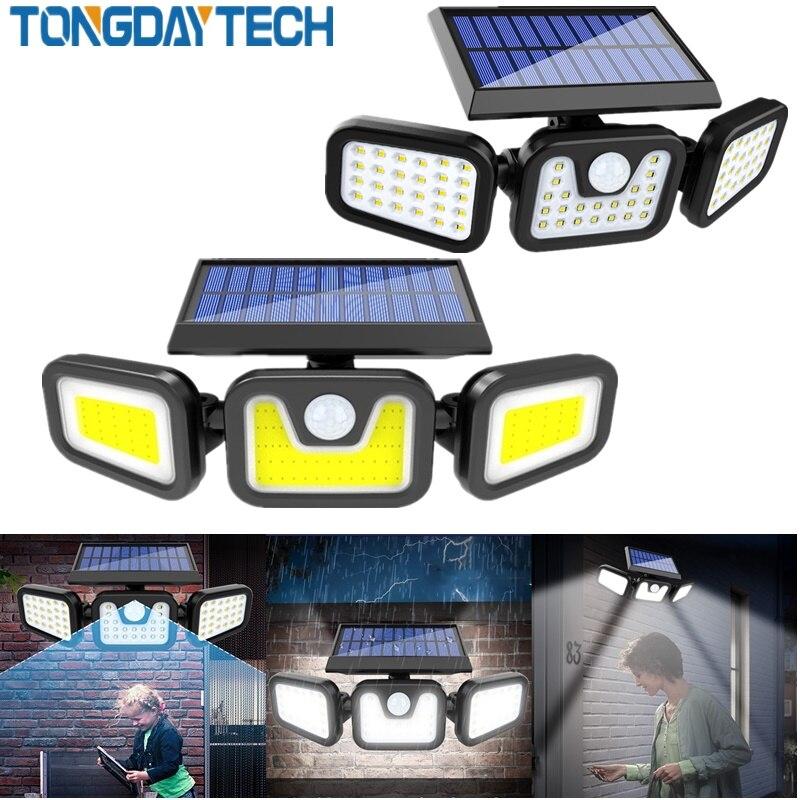 Tongdaytech LED Solar Light Outdoor Solar Lamp Powered Sunlight 3 Modes PIR Motion Sensor For Garden Decoration Wall Lamp Street