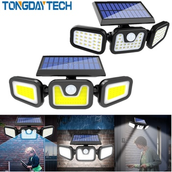 Tongdaytech LED Solar Light Outdoor Solar Lamp Powered Sunlight 3 Modes PIR Motion Sensor for Garden Decoration Wall Lamp Street