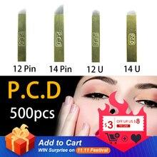 500 pcs PCD 12 סיכות Lamina ננו להב פרימיום 12 קשה 0.25mm קבוע איפור Microblading מחט עבור Tobori עט