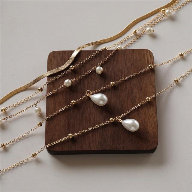 multi chain pearl  choker-necklace 5