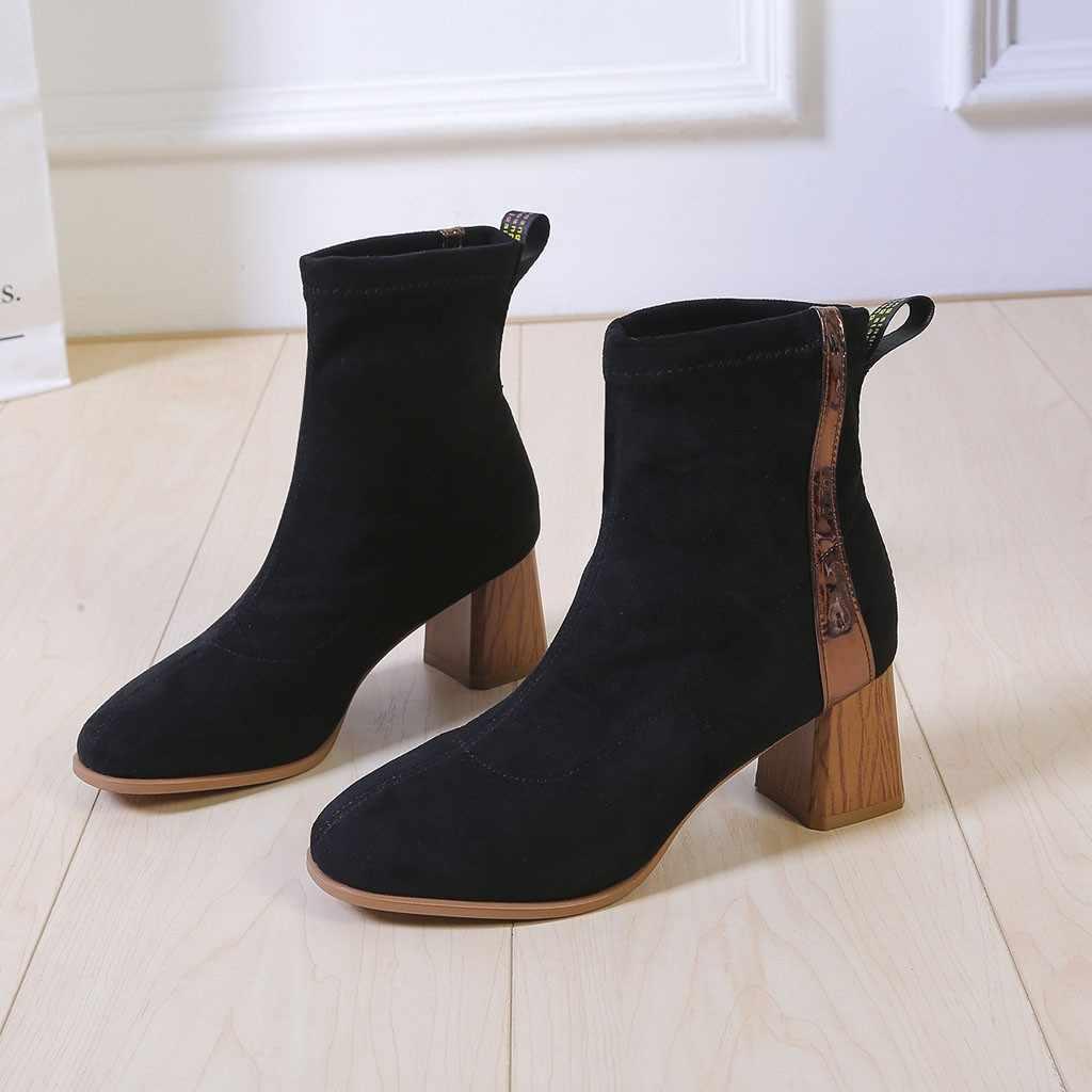 Vrouwen Suede Stretch Stof Sokken Laarzen Mode Winter Vierkante Wortel Hak Enkel Korte Laarzen Slip-On Flock Sokken Zachte elegante Schoenen