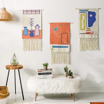 Hand-woven Homestay Boho Tassel Tapestry Wall Hanging Decoration Nordic Bohemian Room Geometric Tapestry Dorm Room Decoration