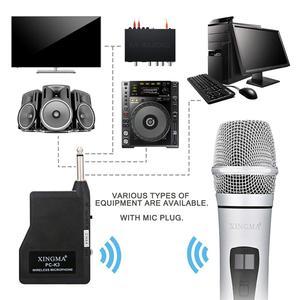 Image 2 - VHF ميكروفون لاسلكي محمول باليد ، سبائك الألومنيوم ، للكاريوكي ، الكمبيوتر ، الغناء ، KTV مع جهاز الاستقبال