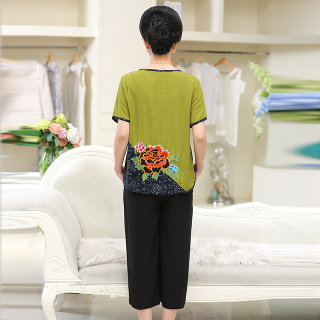 Women Sets 2 Pieces Emulation silk Clothing Set Large Size XL-4XL 2020 Summer Middle aged mother High quality brand Tops+Pants 4