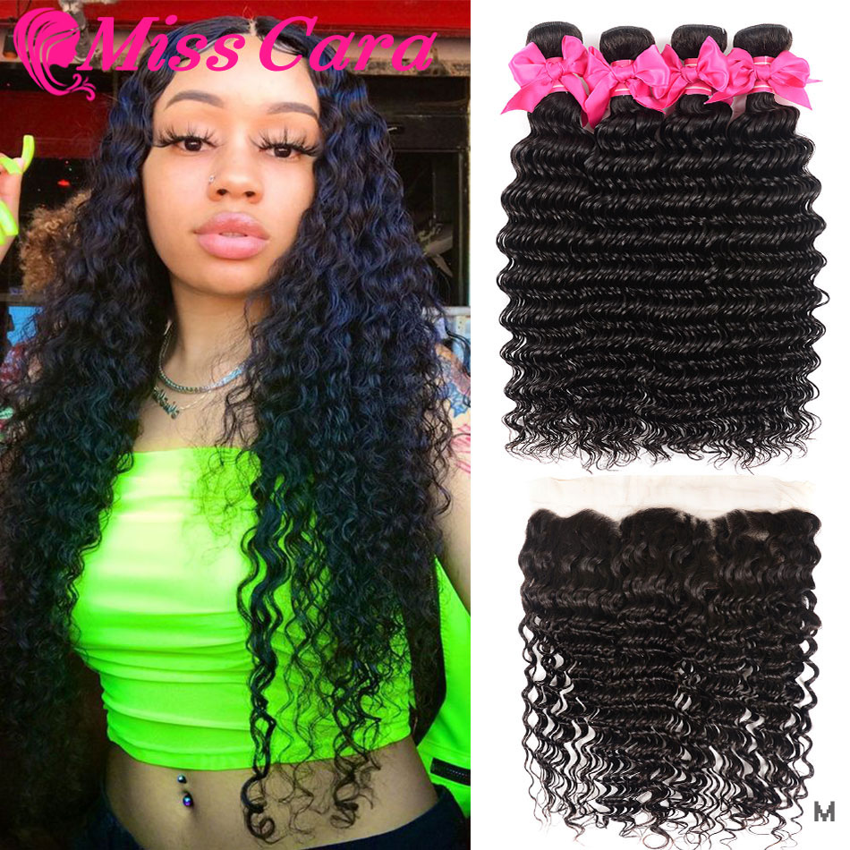 Brazilian Deep Wave 3/4 Bundles With 13*4 Frontal 100% Human Hair Bundles With Frontal  Miss Cara Remy Hair Frontal With Bundles