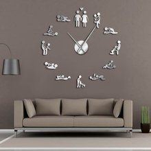 Wall Clock Couple Oversized DIY Art Clock Acrylic Love Clock For Living Room Background Wall Decoration Home Decoration(China)