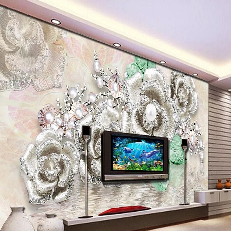 Custom Large Mural 3D Wallpaper Stylish Modern Luxury Creative Silver Pearl Flower Abstract Decoration TV Wall Decor 5D Embossed