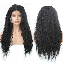 Charyzma odporne na ciepło włosy syntetyczne koronki przodu peruka dla czarnych kobiet kręcone peruki z dziecięcymi włosami Glueless peruka naturalna linia włosów
