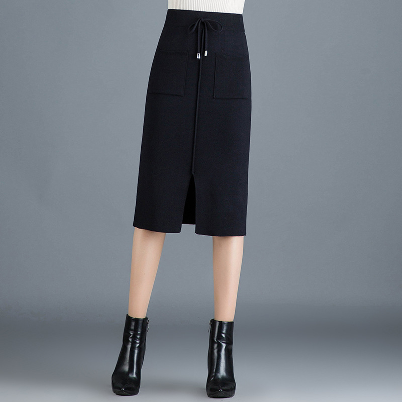 Black And White With Pattern Knitted Skirt Skirt Women's Autumn And Winter 2019 New Style Mid-length Wool Skirt Slimming Slit On