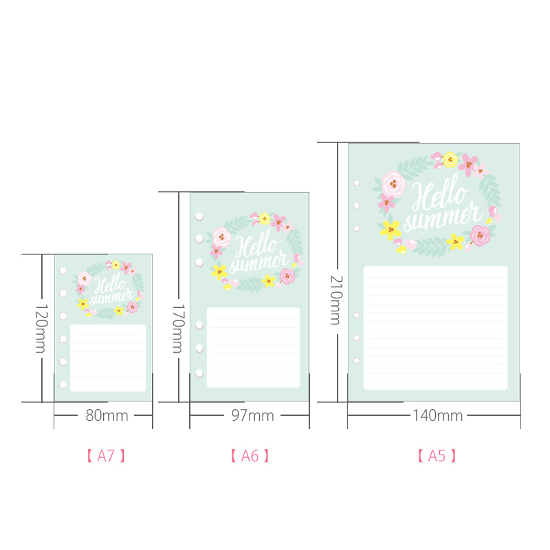 Cute Weekly Diary Journal Filler Paper for  A5 A6 A7 Spiral Notebooks Stationery Accessories 5
